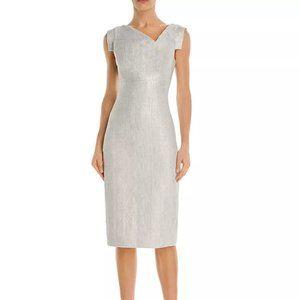 Black Halo Silver Lace Jackie O Sheath Dress 8